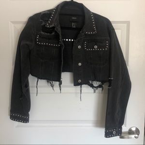 Distressed cropped & studded jean jacket